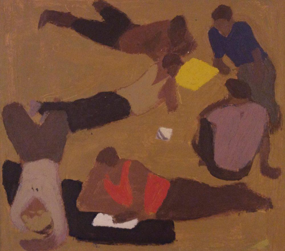 картина В.Попков эскиз к картине Бригада отдыхает 23х26 бум.м. 1964г