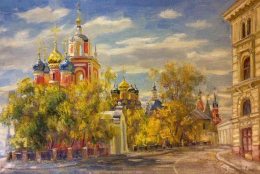 картина №1374. В.Нестеров Осень на Варварке.Москва 40х60 х.м. 2016г.