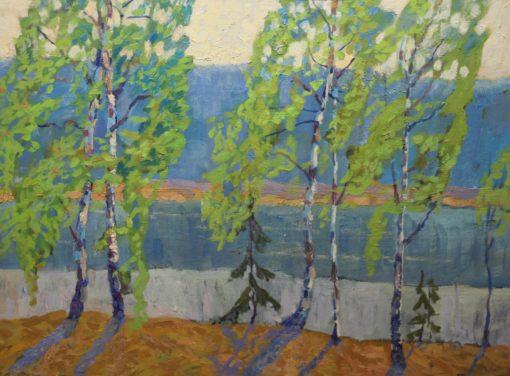 №230. Е.Захаров Деревья у воды 60х80 х.м. 2011г.