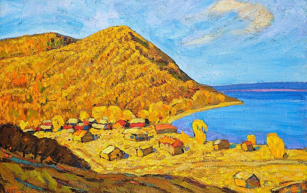 картина Ким Бритов Жигули на Волге 48,5х75,5 х.к.м. 1974