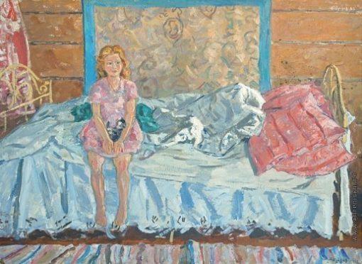 картина девочка с котиком Тутунов 1965