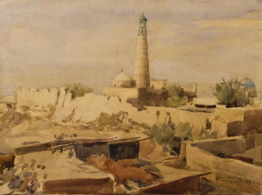 картина Беляева Н.Беляев Хива.Минарет Ислам Ходжа