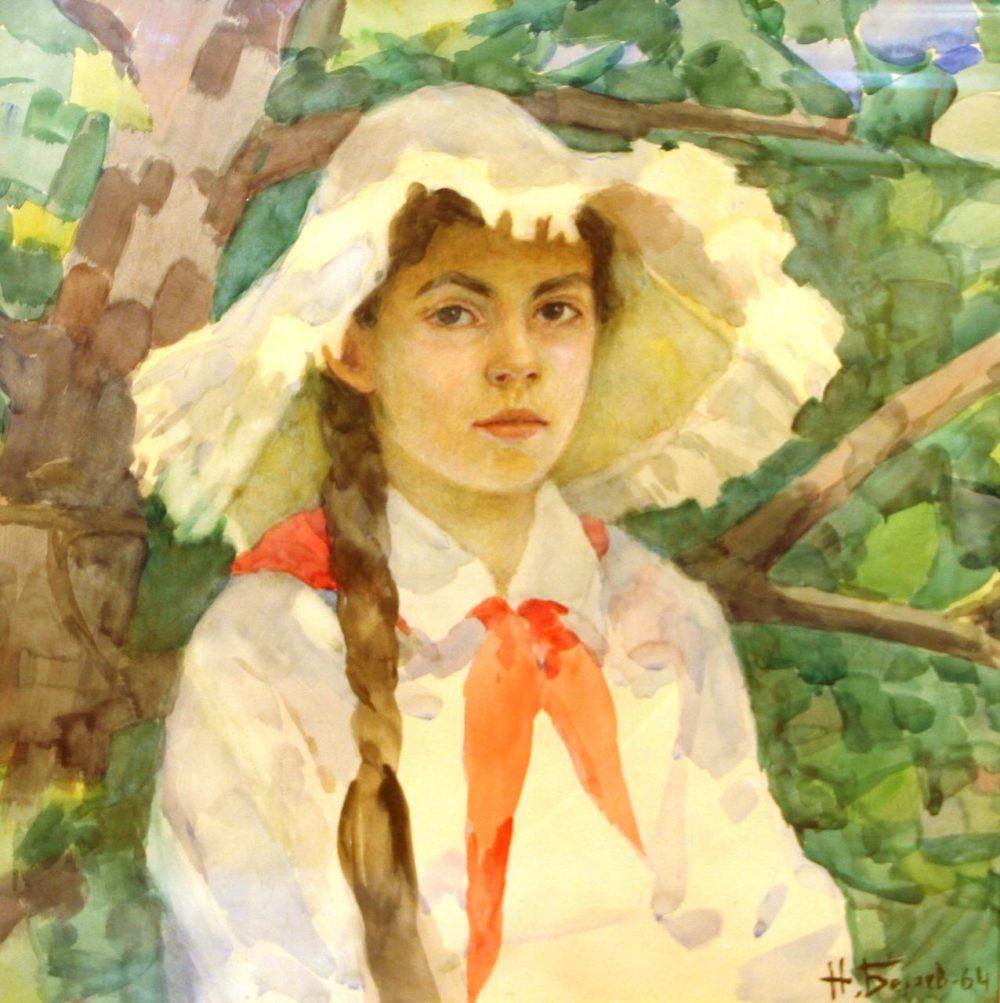 картина Н.Беляев Портрет Марины 60х60 бум.акв. 1976г.