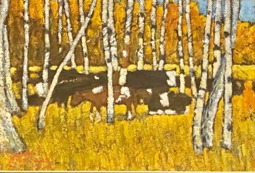 картина художника Ким Бритов «Стадо в лесу» 2003 год