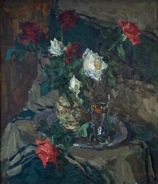«Розы» 70х60 х.м. 1984г.